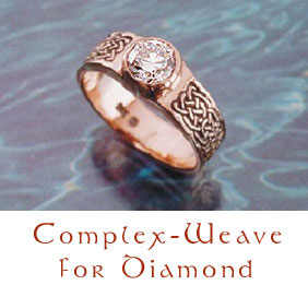 Complex-Weave Celtic knot ring in 14kt rose gold with 1 carat fine white diamond