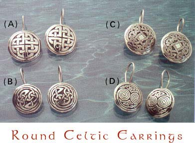 Round Celtic Earrings, sterling silver.